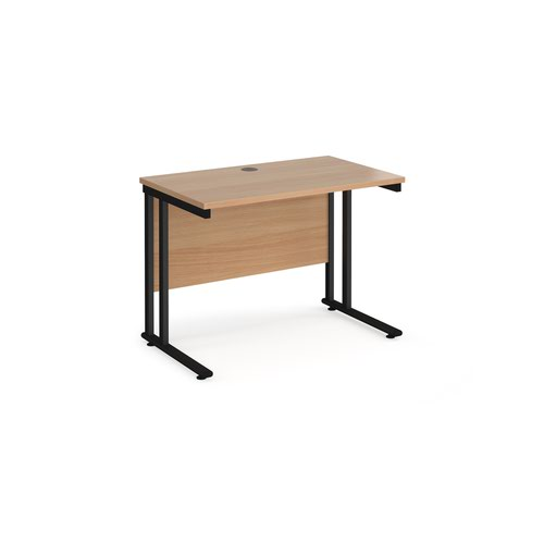 Maestro 25 straight desk 1000mm x 600mm - black cantilever leg frame and beech top