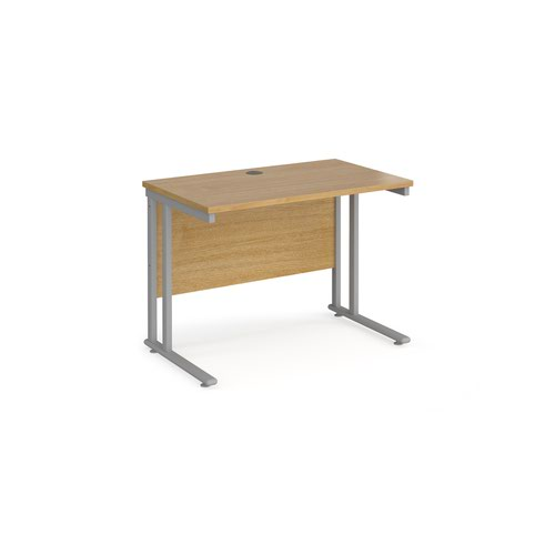 Maestro 25 straight desk 1000mm x 600mm - silver cantilever leg frame and oak top