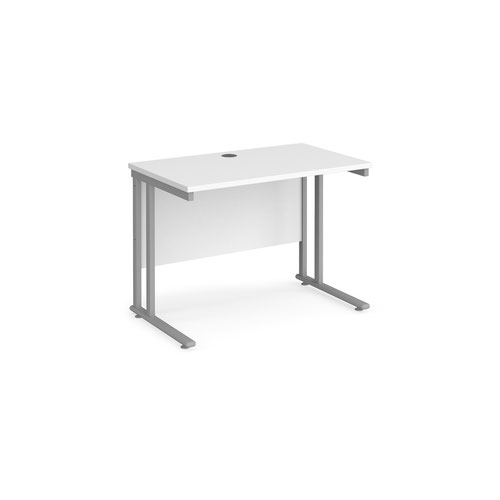 Maestro 25 straight desk 1000mm x 600mm - silver cantilever leg frame and white top
