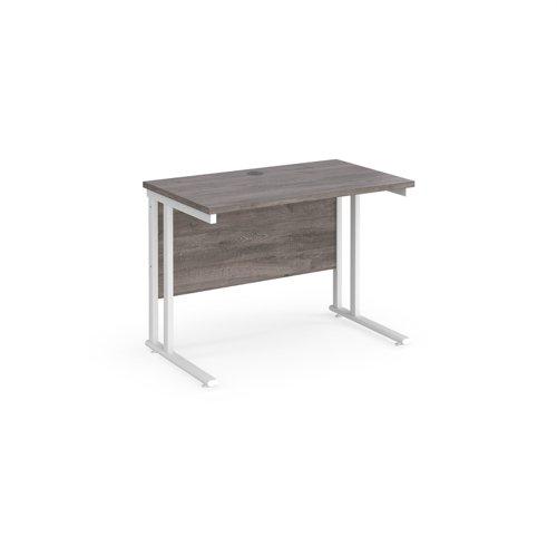 Maestro 25 straight desk 1000mm x 600mm - white cantilever leg frame and grey oak top