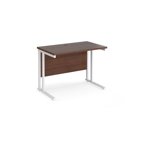 Maestro 25 straight desk 1000mm x 600mm - white cantilever leg frame and walnut top