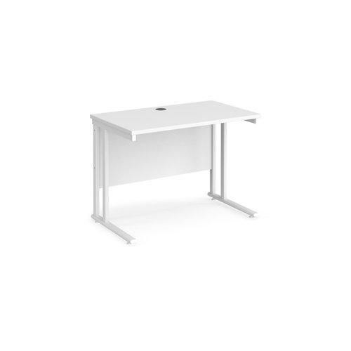 Maestro 25 straight desk 1000mm x 600mm - white cantilever leg frame and white top