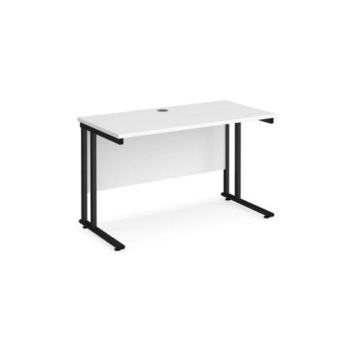 Maestro 25 straight desk 1200mm x 600mm - black cantilever leg frame and white top