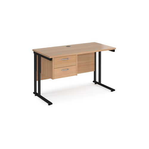 Maestro 25 straight desk 1200mm x 600mm with 2 drawer pedestal - black cantilever leg frame and beech top
