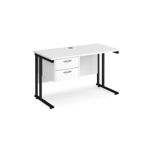 Maestro 25 straight desk 1200mm x 600mm with 2 drawer pedestal - black cantilever leg frame and white top