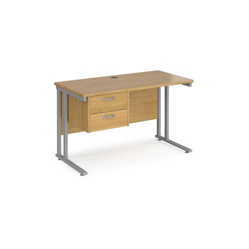 Maestro 25 straight desk 1200mm x 600mm with 2 drawer pedestal - silver cantilever leg frame and oak top