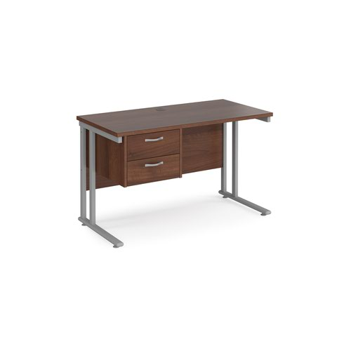 Maestro 25 straight desk 1200mm x 600mm with 2 drawer pedestal - silver cantilever leg frame and walnut top