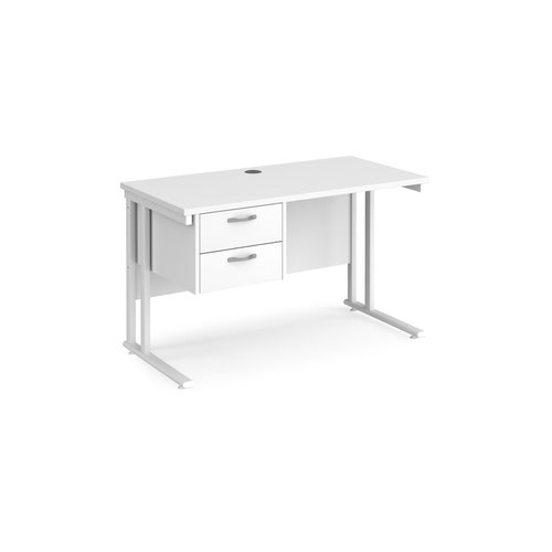Maestro 25 straight desk 1200mm x 600mm with 2 drawer pedestal - white cantilever leg frame and white top