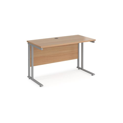 Maestro 25 straight desk 1200mm x 600mm - silver cantilever leg frame and beech top