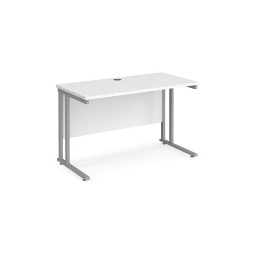 Maestro 25 straight desk 1200mm x 600mm - silver cantilever leg frame and white top