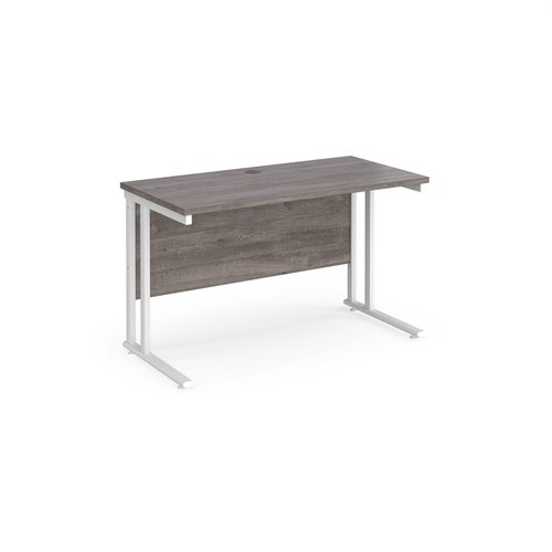 Maestro 25 straight desk 1200mm x 600mm - white cantilever leg frame and grey oak top