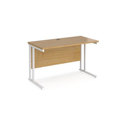 Maestro 25 straight desk 1200mm x 600mm - white cantilever leg frame and oak top