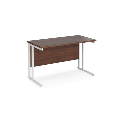 Maestro 25 straight desk 1200mm x 600mm - white cantilever leg frame and walnut top