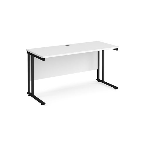Maestro 25 straight desk 1400mm x 600mm - black cantilever leg frame and white top