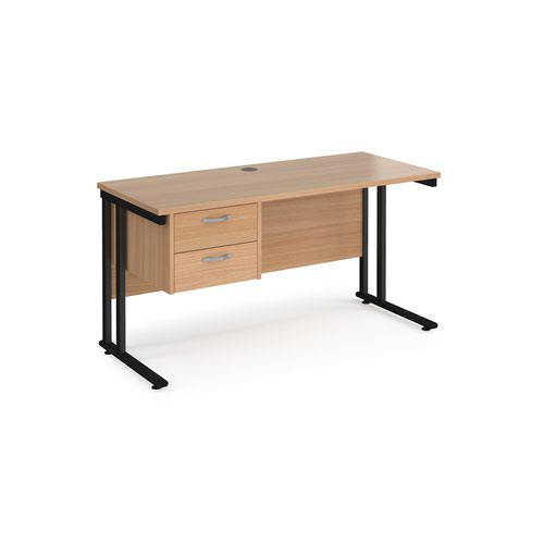 Maestro 25 straight desk 1400mm x 600mm with 2 drawer pedestal - black cantilever leg frame and beech top
