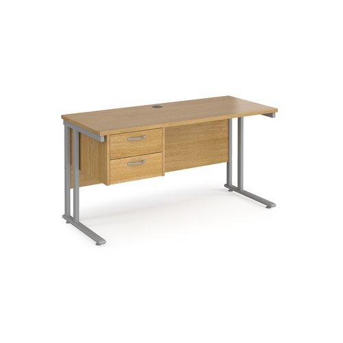 Maestro 25 straight desk 1400mm x 600mm with 2 drawer pedestal - silver cantilever leg frame and oak top