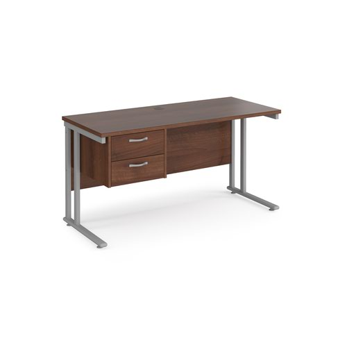 Maestro 25 straight desk 1400mm x 600mm with 2 drawer pedestal - silver cantilever leg frame and walnut top