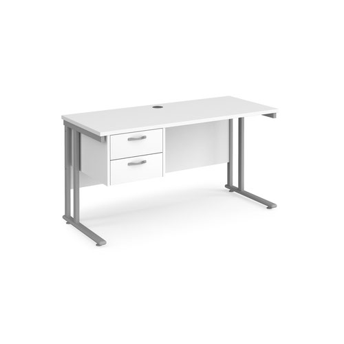 Maestro 25 straight desk 1400mm x 600mm with 2 drawer pedestal - silver cantilever leg frame and white top