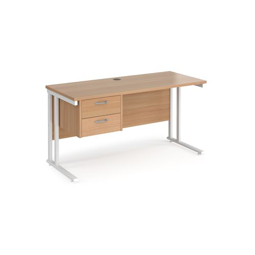 Maestro 25 straight desk 1400mm x 600mm with 2 drawer pedestal - white cantilever leg frame and beech top
