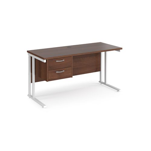 Maestro 25 straight desk 1400mm x 600mm with 2 drawer pedestal - white cantilever leg frame and walnut top