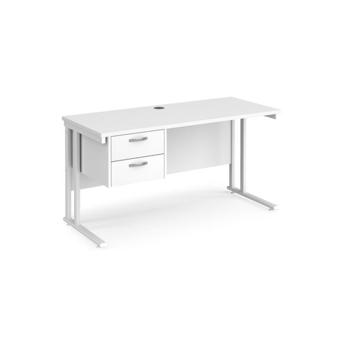 Maestro 25 straight desk 1400mm x 600mm with 2 drawer pedestal - white cantilever leg frame and white top