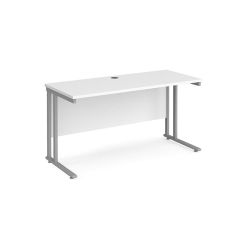 Maestro 25 straight desk 1400mm x 600mm - silver cantilever leg frame and white top