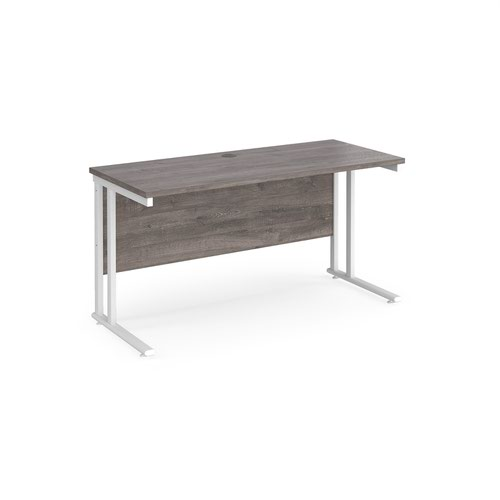 Maestro 25 straight desk 1400mm x 600mm - white cantilever leg frame and grey oak top