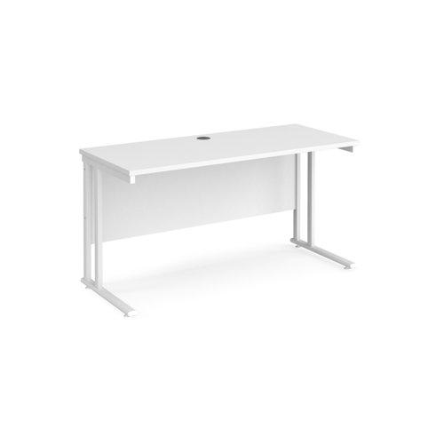 Maestro 25 straight desk 1400mm x 600mm - white cantilever leg frame and white top