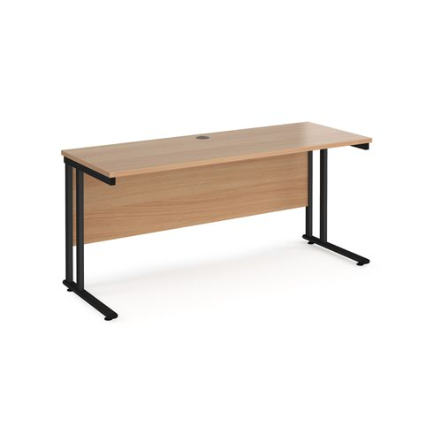 Maestro 25 straight desk 1600mm x 600mm - black cantilever leg frame and beech top
