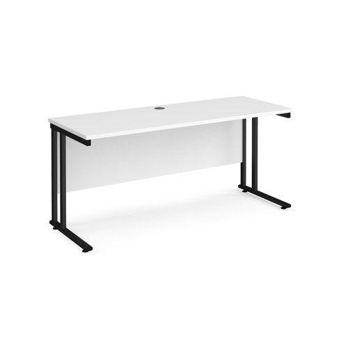 Maestro 25 straight desk 1600mm x 600mm - black cantilever leg frame and white top