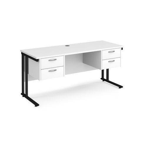 Maestro 25 straight desk 1600mm x 600mm with two x 2 drawer pedestals - black cantilever leg frame and white top