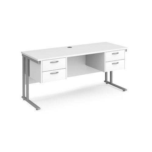 Maestro 25 cantilever 600mm deep desk with 2 x 2 drawer peds