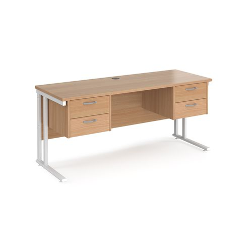 Maestro 25 straight desk 1600mm x 600mm with two x 2 drawer pedestals - white cantilever leg frame and beech top