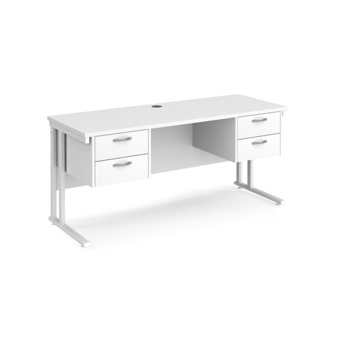 Maestro 25 straight desk 1600mm x 600mm with two x 2 drawer pedestals - white cantilever leg frame and white top