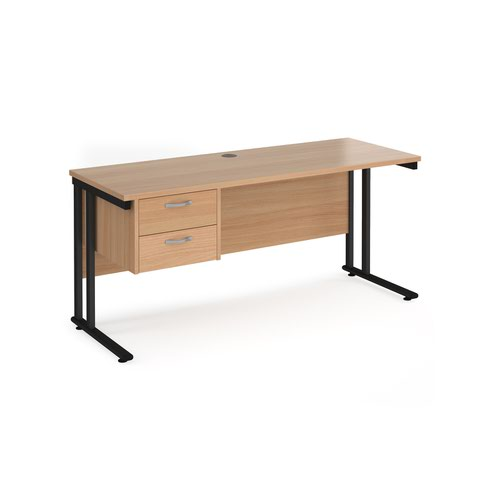 Maestro 25 straight desk 1600mm x 600mm with 2 drawer pedestal - black cantilever leg frame and beech top