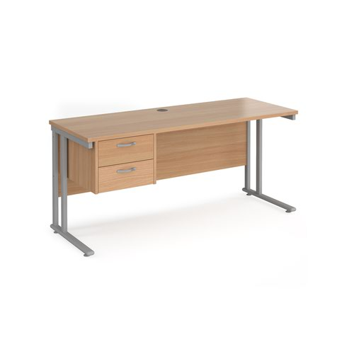 Maestro 25 straight desk 1600mm x 600mm with 2 drawer pedestal - silver cantilever leg frame and beech top