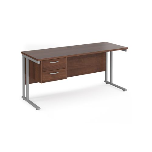 Maestro 25 straight desk 1600mm x 600mm with 2 drawer pedestal - silver cantilever leg frame and walnut top