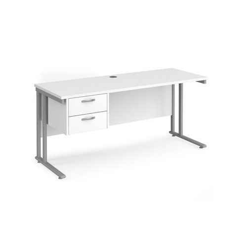 Maestro 25 straight desk 1600mm x 600mm with 2 drawer pedestal - silver cantilever leg frame and white top