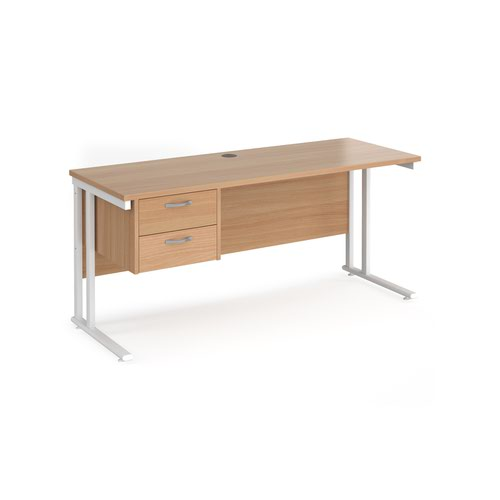 Maestro 25 straight desk 1600mm x 600mm with 2 drawer pedestal - white cantilever leg frame and beech top