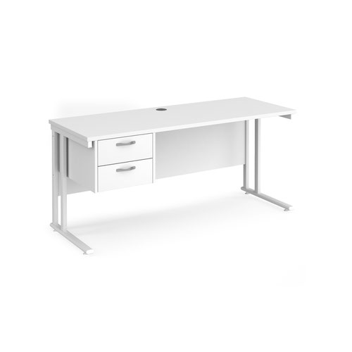 Maestro 25 straight desk 1600mm x 600mm with 2 drawer pedestal - white cantilever leg frame and white top