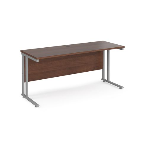Maestro 25 straight desk 1600mm x 600mm - silver cantilever leg frame and walnut top