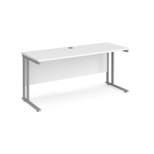 Maestro 25 straight desk 1600mm x 600mm - silver cantilever leg frame and white top