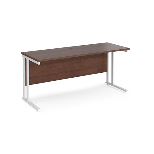 Maestro 25 straight desk 1600mm x 600mm - white cantilever leg frame and walnut top