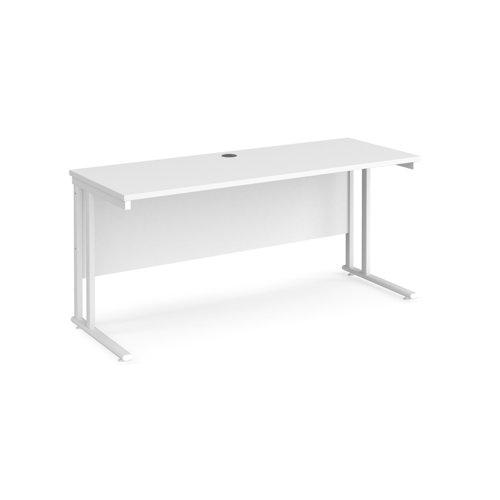 Maestro 25 straight desk 1600mm x 600mm - white cantilever leg frame and white top