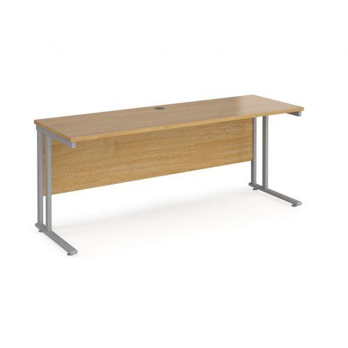 Maestro 25 Sl Silver Double Upright Cantilever Desk 1800W X 600D Oak 25mm Top 18mm Back Panel