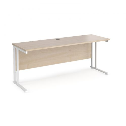 Maestro 25 straight desk 1800mm x 600mm - white cantilever leg frame and maple top