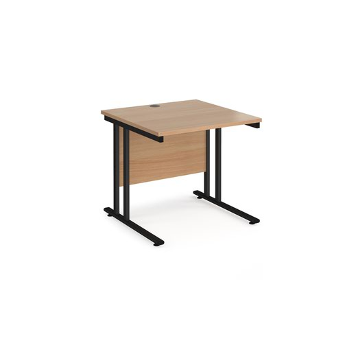 Maestro 25 straight desk 800mm x 800mm - black cantilever leg frame and beech top