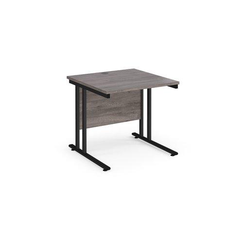 Maestro 25 straight desk 800mm x 800mm - black cantilever leg frame and grey oak top