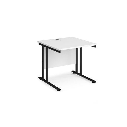 Maestro 25 straight desk 800mm x 800mm - black cantilever leg frame and white top