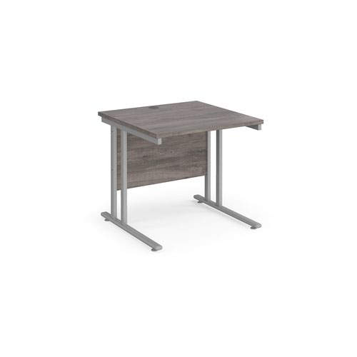 Maestro 25 straight desk 800mm x 800mm - silver cantilever leg frame and grey oak top